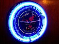 Wurlitzer Jukebox Phonograph Bar Advertising Man Cave Neon Clock Sign