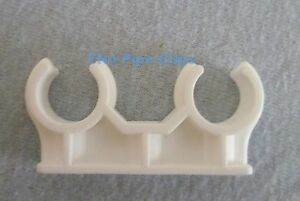 Plastic Double Open / Snap in copper Pipe Clip - 15mm, 22mm & 28mm - Diff Qtys