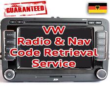 VW Stereo SAFE PIN Code Unlock Decode Service for RNS Navigation & Radio