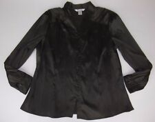 Nygard Collection Blouse Shirt Top Size 16 Brown Textured Crinkle