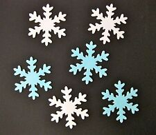 12 EDIBLE LARGE BLUE / WHITE FROZEN SNOWFLAKE RICE / WAFER PAPER CUPCAKE TOPPERS