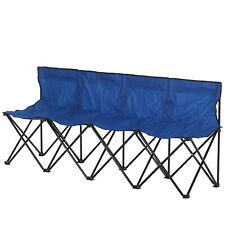 Outunny 4-Seater Sport Bench Camping Seat Folding Portable Outdoor - Blue