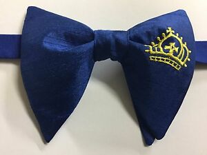 Handmade Blue/Gold Crown Satin Bow tie Vintage style 70`s Bowtie Pre-tied