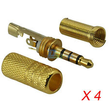 "4 Gold 3.5mm 1/8"" 4 Pole TRRS Stereo Male Jack Plug For Audio Solder Connector"