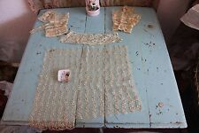 4 Delicate French Antique Handmade Doll/Bridal Cream Laces~Irish Crochet Cuffs