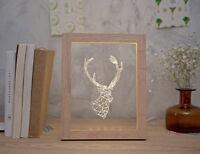 Modern Creative LED Length 15cm Deer Decoration Wood Frame Table Light/Lamp #