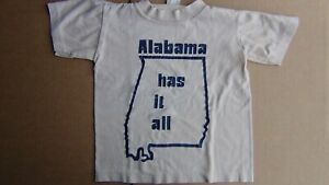 VTG 70s Small Beige Sportswear T-Shirt w/ALABAMA Outline of State, FREE SHIPPING