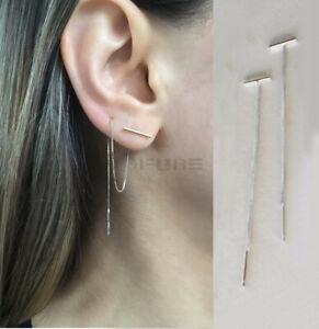 Hypoallergenic Silver Double Piercing Long Chain Dangle Bar Threader Earrings