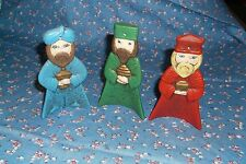 """Set of Wee Three Kings Chrismas Ornaments About 4 1/4"""" High  Green Damage Bottom"""