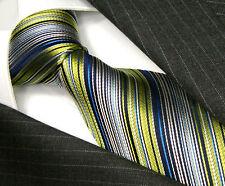 42035 LORENZO CANA Gruen Blau Weiss Schwarz gestreifte Krawatte 100% Seide Neu