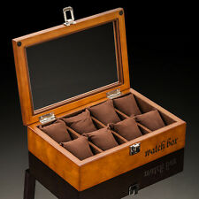 SOKI Walnut Wood Watch Box for 8 Watches Display Case with Glass Top in Brown