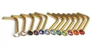 1 / 10pc GOLD Nose Stud 2mm Gem L Shape Bent Body Piercing Bar Ring Crystal Bulk