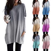 Women Long Sleeve Gradient T-Shirt Tops Loose Blouse Tunic  Sweatshirt Pullover