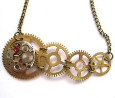 steampunk gothic punk necklace pendant watch clock parts gears men women jewelry