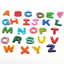 Fridge Wooden Magnet Baby Children Toy A-Z ABC Educational Alphabet 26 Letter IT