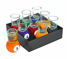 Billiards Pool Ball Shot Glass Set of 9 Removable Glasses Sport Bar Drink Gift