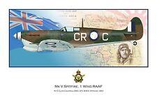 WWII WW2 RAAF MkV Spitfire Aviation Art Profile Photo Prints - FULL SET OF 3