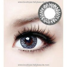 Lentilles de Couleur GRIS Big Eyes LAY Duree 365j. Filtre Contact UV +Etui