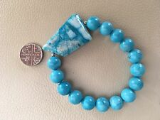 "7.5"" Chunky Turquoise Blue Howlite & Agate Asymetric FocalBead Stretch Bracelet"