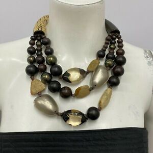 Alexis Bittar Necklace 3 Strand Wood Lucite Resin Retailed For $700