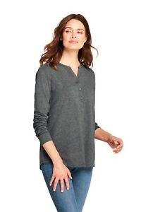 Lands'End Women's Long Sleeve Button Cuff Tunic Charcoal Heather S item #501417
