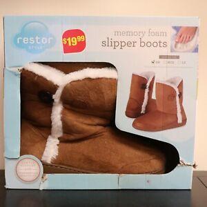 NEW Restor Women's Memory Foam Velour Slipper Boots Non-Slip Sole Sz Small 5-6