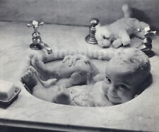 1936 Vintage WORLD'S CUTEST BABY Sink & Bubbles Photo Art 11x14 ~ HARRY RODVOGIN