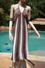 M Missoni red teal brown gold white stripe halter dress 50 10 12 14