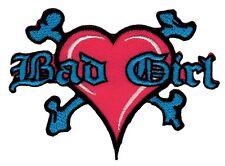am83 Bad Girl Herz Aufnäher Bügelbild Applikation Flicken Patch Tattoo Knochen