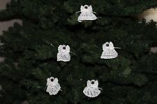 SET OF 5 CLOTHESPIN ANGELS WHITE CROCHET THREAD CHRISTMAS DARK WOOD ORNAMENT