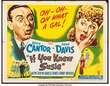 IF YOU KNEW SUSIE - HALF SHEET POSTER - EDDIE CANTOR, JOAN DAVIS, BOBBY DRISCOLL