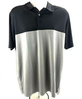 Antigua Desert Dry Mens L Golf Polo Shirt Black Grey Striped Theory 104102 SS