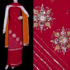 RED GRGT INDIAN SALWAR KAMEEZ SUIT DRESS MATERIAL MIRROR SEQUINS WORK LADIES DEN