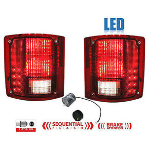 73-91 Chevy GMC Truck Rear LED Sequential Tail Brake Light Lens Pair w/ Flasher