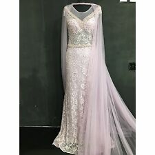 Pearl Wedding Dress Prom Evening Party Ball Gown Size 10/12 Bridesmaid Cape
