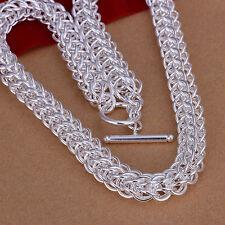 Heavy 72g 925 Hallmark Sterling Silver Filled Snake Bone 10mm  Necklace N397