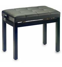 Stagg PB36 BKM SBK - Banquette de piano, noir mat, avec pelote en skai noir