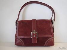 Coach Purse Handbag Shoulder Bag Satchel Sz M Wine Suede Leather Handle Buckle
