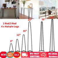 """8"""" 12"""" 16"""" 18"""" 28"""" 30"""" 2/3Rod Hairpin Coffee Table Legs Metal Vintage Set of 4"""