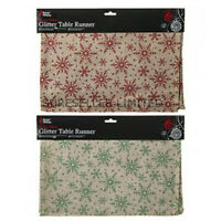 Jute Hessian Christmas Glitter Snowflake Dinner Table Runner Cloth Cover Xmas