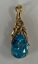 "Estate Jewelry Blue Topaz & Diamond Pendant Charm 14K Yellow Gold 1"" Long"