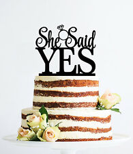 She Said Yes Cake Topper, Wedding Cake Decorations, Bridal Shower, USA