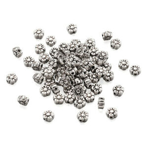 100pcs Alloy Tibetan Silver Flower Plum Blossom Beads Nickel Free Spacer 5x5mm