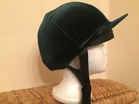Riding Hat Silk Cover Equestrian Eventing Competition Velvet Velour Bottle Green