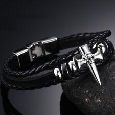 Fashion Punk Skeleton Skull Head Leather Men Bracelet Bangle Braid Weave Party