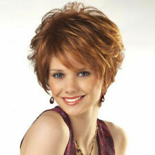 Ladies Short Wavy Wigs Ombre Brown Blonde Pixie Cut Full Wigs Party Wig Fashion