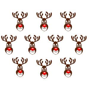 Set of 10 Reindeer Iron on Screen Print DIY  transfer for fabric Christmas xmas