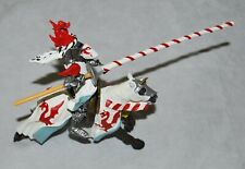 Rare Plastoy Dragon Jousting Knight With Horse Red & White Figure