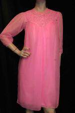S 2 Piece Vtg 60s Snowdon PEIGNOIR Pink Nylon Lace Chiffon Nightgown Gown Robe