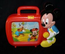 VINTAGE 1970'S DISNEY ARCO MICKEY MOUSE WIND UP SCROLLING MUSICAL RED TV SCREEN